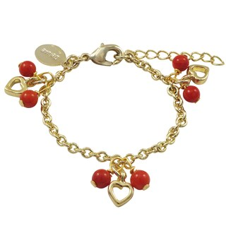 Luxiro Gold Finish Red Coral Beads Heart Charm Bracelet