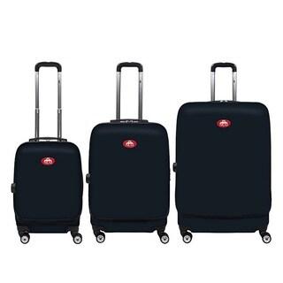 NUKI Front Accessible Black 3-piece Hardside Spinner Luggage Set