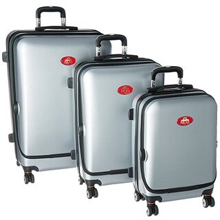 NUKI Front Accessible Silver 3-piece Hardside Spinner Luggage Set