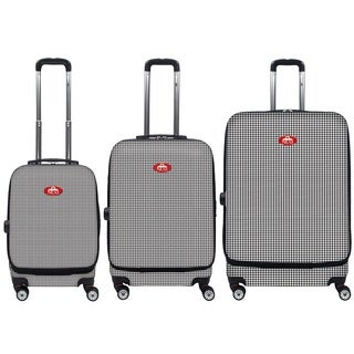 NUKI Front Accessible Houndstooth 3-piece Hardside Spinner Luggage Set
