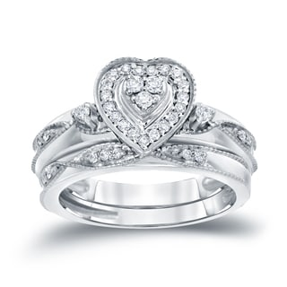 Auriya 14k 1/5ct TDW Halo Diamond Heart-Shape Bridal Ring Set (H-I, I1-I2)