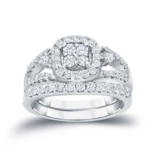 Auriya 14k 1ct TDW Cluster Diamond Bridal Ring Set (H-I, I1-I2)
