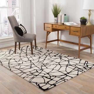 Nikki Chu by Jaipur Living Chandler Handmade Abstract Cream/ Black Area Rug (5' X 8')