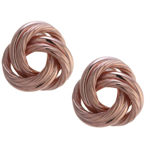 Rose Gold over Sterling Silver Large Knot Stud Earrings