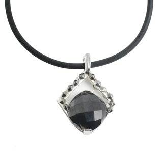 Michael Valitutti Palladium Silver Cushion Hematite Men's Cord Pendant