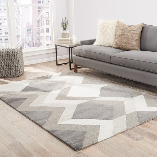Fleet Handmade Geometric Gray/ Cream Area Rug   5u0026#x27; ...