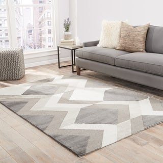 "Fleet Handmade Geometric Gray/ Cream Area Rug (5' X 7'6"")"
