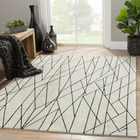 "Gatz Handmade Geometric Cream/ Gray Area Rug (5' X 7'6"") - 5' x 7'6"""