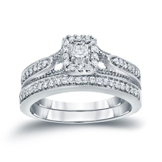 Auriya 14k 1/3ct TDW Halo Diamond Bridal Ring Set (H-I, I1-I2)