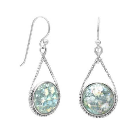Sterling Silver Authentic Roman Glass Teardrop Drop Hook Earrings