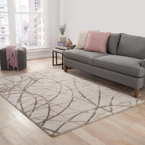Jazz Handmade Abstract Gray/ Silver Area Rug (5' X 8') - 5' x 8'