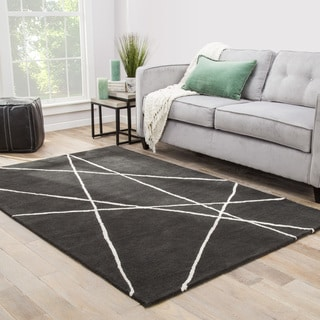 Declan Handmade Abstract Dark Gray/ White Area Rug (5' X 8') - 5' x 8'