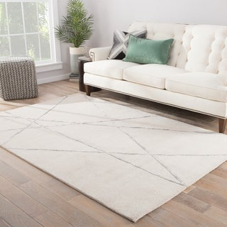 Declan Handmade Abstract Cream/ Silver Area Rug (5' X 8') - 5' x 8'