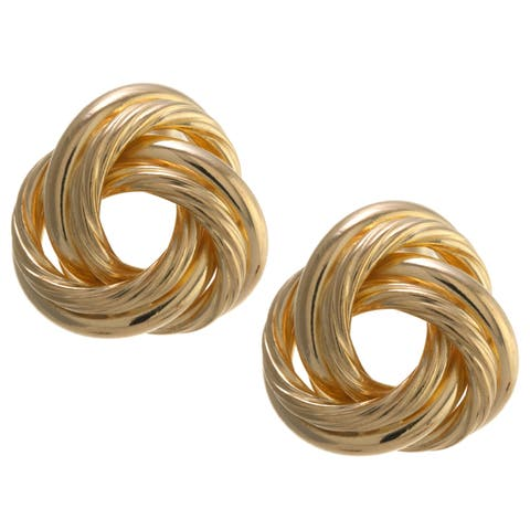 Gold over Sterling Silver Large Knot Stud Earrings