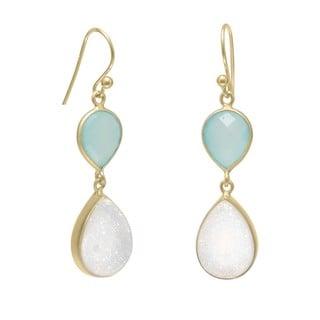 Sterling Silver Green Chalcedony& Druzy Drop Hook Earrings