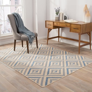 "Brentin Indoor/ Outdoor Geometric Blue/ Beige Area Rug (5' X 7'6"")"