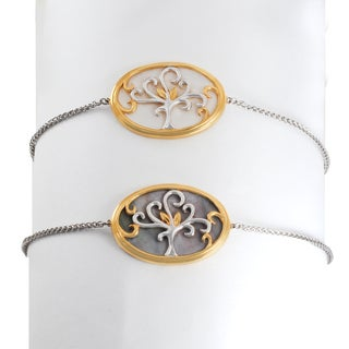 Michael Valitutti Palladium Silver Oval Mother of Pearl Tree Chain Bracelet with Adjustable Clasp