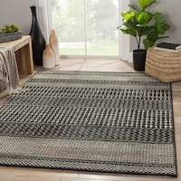 "Warren Geometric Black/ Gray Area Rug (5'3"" X 7'6"") - 5'3"" x 7'6"""