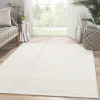 "Warren Geometric White/ Gray Area Rug (5'3"" X 7'6"") - 5'3"" x 7'6"""
