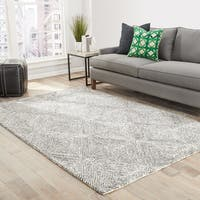Thurston Handmade Geometric White/ Dark Gray Area Rug - 5' x 8'
