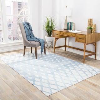Nelson Indoor/Outdoor Geometric Blue/ Cream Area Rug (5' X 8')