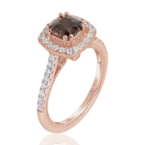 Suzy Levian Rose Sterling Silver Brown Asscher Cut Cubic Zirconia Halo Engagement Ring - Brown/White