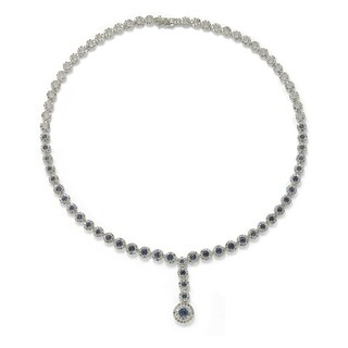 Suzy Levian Sterling Silver Round-Cut Y-Shaped Blue Sapphire & Diamond Accent Necklace