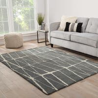 Turin Handmade Geometric Gray/ Cream Area Rug (5' X 8') - 5' x 8'