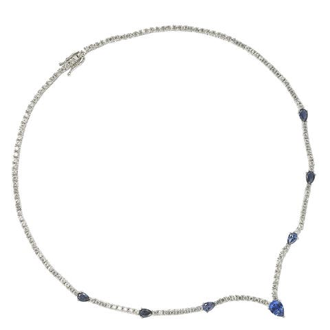 Suzy Levian Sterling Silver Pear-Cut Sapphire & Diamond Accent Evening Necklace - Blue
