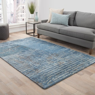 Catao Handmade Abstract Blue/ Grey Area Rug (5' x 8') - 5' x 8'