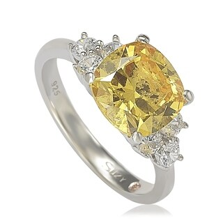 Suzy Levian Sterling Silver Yellow Cubic Zirconia Engagement Ring
