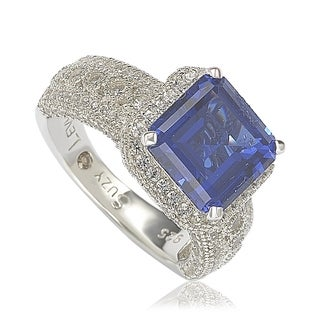 Suzy Levian Sterling Silver Emerald-Cut Sapphire & Diamond Accent Ring with 18k Gold Logo - Blue (More options available)