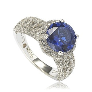 Suzy Levian Sterling Silver Round-Cut Blue Sapphire & Diamond Accent Ring