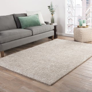Kensington Handmade Solid Taupe/ Light Gray Area Rug (8' X 10')