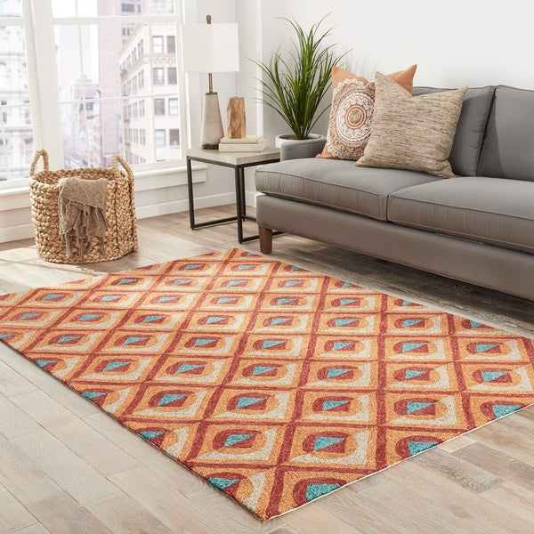 shop amira indoor outdoor geometric orange turquoise area rug 7 39 6 x 9 39 6 free shipping. Black Bedroom Furniture Sets. Home Design Ideas
