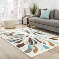 "Fonteyne Indoor/ Outdoor Abstract Cream/ Blue Area Rug - 7'6"" x 9'6"""