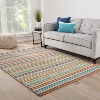 Priya Handmade Stripe Multicolor Area Rug (8' X 10')