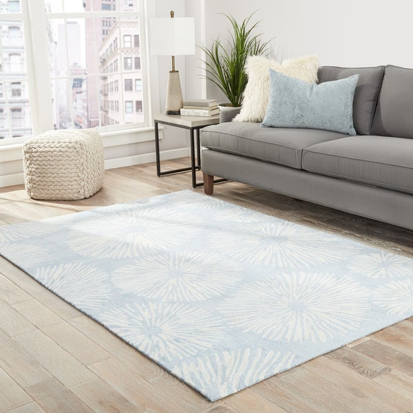 "Leone Handmade Abstract Blue/ Cream Area Rug - 7'6"" x 9'6"""