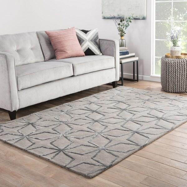 Seren Handmade Geometric Gray/ Silver Area Rug (8' X 11') - 8' x 11'