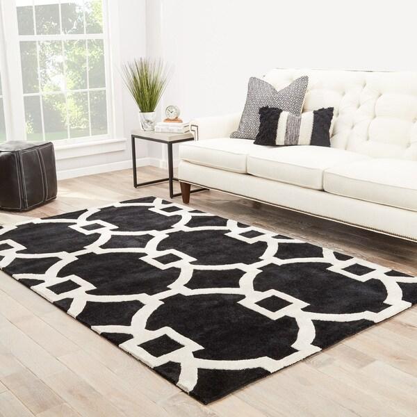Bronx Handmade Trellis Black/ White Area Rug (8' X 11') - 8' x 11'
