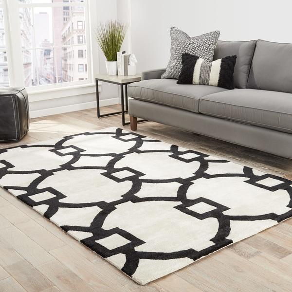 Bronx Handmade Trellis White/ Black Area Rug (8' X 11') - 8' x 11'
