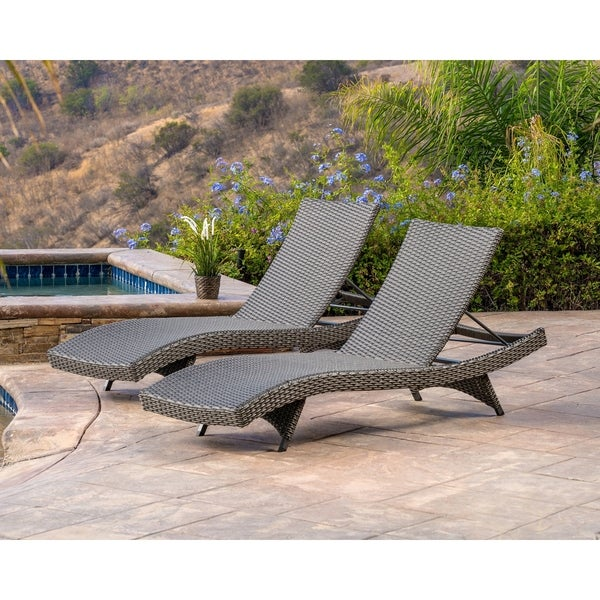 Abbyson Soleil Grey Patio Lounger Set Of 2
