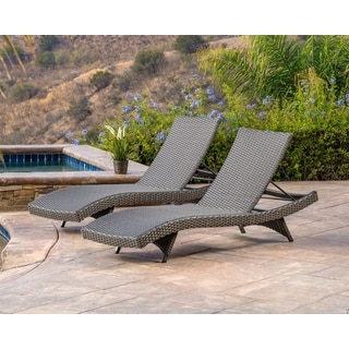 Abbyson Soleil Grey Patio Lounger (Set of 2)