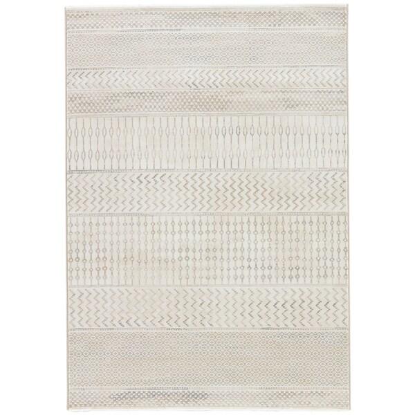 "Warren Geometric White/ Gray Area Rug - 7'10"" x 10'10"""