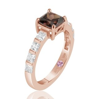 Suzy Levian Rose Sterling Silver Light Brown Asscher Cut Cubic Zirconia Solitaire Engagement Ring - Brown/White
