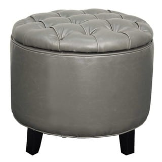 Avery Tufted Bonded Leather Round Storage Ottoman