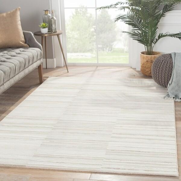 "Vermilion Stripe Gray/ Taupe Area Rug (7'10"" X 10'10"") - 7'10"" x 10'10"""