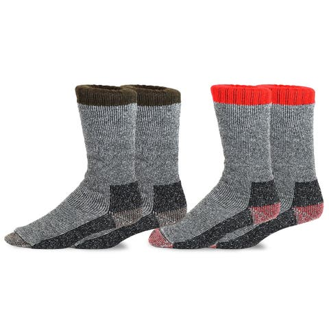 TeeHee Heavyweight Outdoor Wool Thermal Boot Socks Men 2-Pack Brown Red