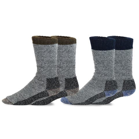 TeeHee Heavyweight Outdoor Wool Thermal Boot Socks for Men 2-Pack (Brown and Navy)