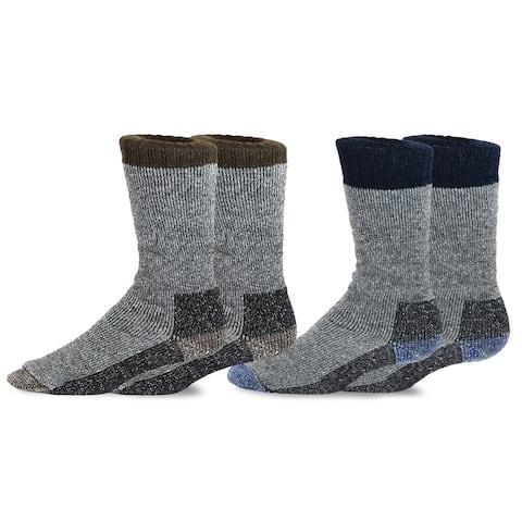 TeeHee Heavyweight Outdoor Wool Thermal Boot Socks for Men 2-Pack (Brown and Navy)